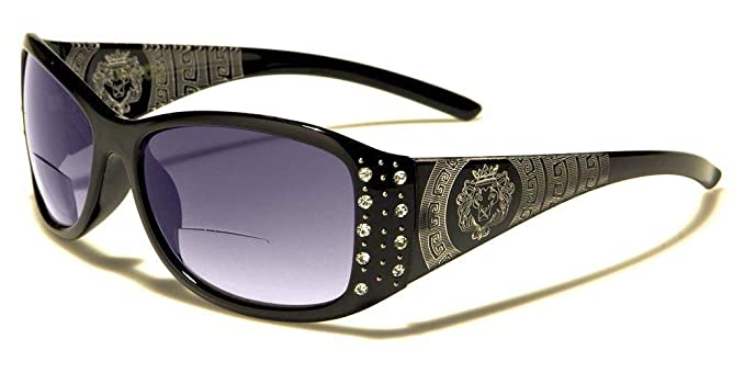 Womens Designer Bifocal Sunglasses with Rhinestones - Hard Case Included  (Black 3890a3a411