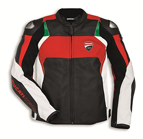 Ducati Corse C3 Perforated Leather Motorcycle Jacket (54EU[44US], White-Red)