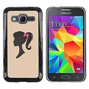 Be Good Phone Accessory // Dura Cáscara cubierta Protectora Caso Carcasa Funda de Protección para Samsung Galaxy Core Prime SM-G360 // Girl Silhouette Bow Pink Hairdresser Beige