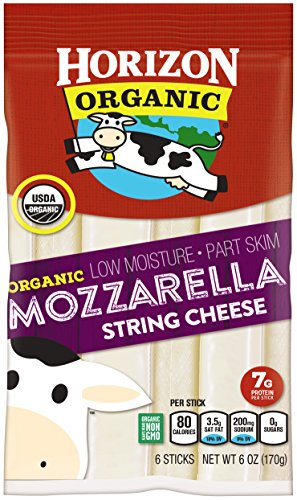 Horizon Organic String Cheese, Mozzarella, 6 Ounce, Individually Packaged Mozzarella String Cheese with Protein and Calcium, Great for Snacks for Kids or - Skim Part Mozzarella