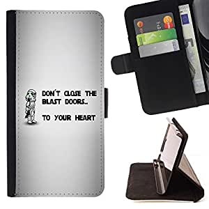 DEVIL CASE - FOR Apple Iphone 6 - Don't Close The Blast Doors - Style PU Leather Case Wallet Flip Stand Flap Closure Cover