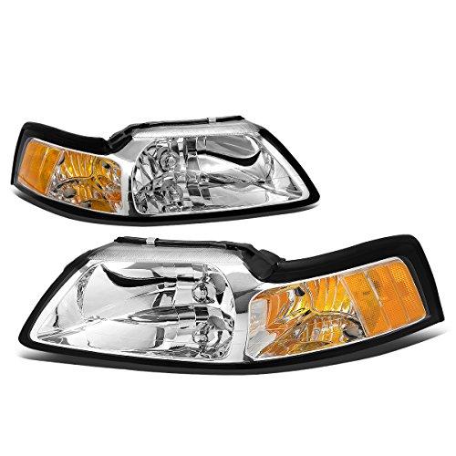 (For Ford Mustang New Edge 4th Gen Pair of Chrome Housing Amber Corner Headlight )