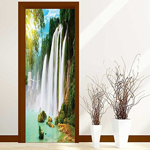 SOCOMIMI 3D Door Mural Wallpaper Two cheetahs on the hil in the savannah Easy-to-clean Durable ()