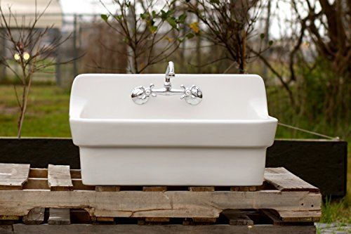 Vintage Porcelain Sink (White Vintage Style High Back Farm Sink Original Porcelain Finish Apron Kitchen Utility Sink, New Faucet + Drain)