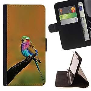 - Queen Pattern FOR Sony Xperia M2 /La identificaci????n del cr????dito ranuras para tarjetas tir????n de la caja Cartera de cuero cubie - orange vibrant colorful bird summer -