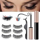 Magnetic Eyeliner With 3D Magnetic Eyelashes Kit, Natural Full Eye Magnetic Eyelashes Ultra-thin Reusable Fake Eyelashes with Waterproof Black Smooth Liquid Eyeliner (Magnetic Eyelashes Kit-B)