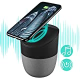 Portable Bluetooth Speakers with Wireless Charger, Wireless Charging Stand Pad & Super Bass Stereo Wireless Speakers Compatible with Android S8/S8plus S7, S7 Edge, X/XS/8/8plus, All Qi-Enabled Devices