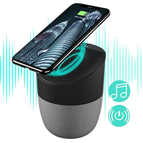 (Portable Bluetooth Speakers with Wireless Charger, Wireless Charging Stand Pad & Super Bass Stereo Wireless Speakers Compatible with Android S8/S8plus S7, S7 Edge, X/XS/8/8plus, All Qi-Enabled Devices)
