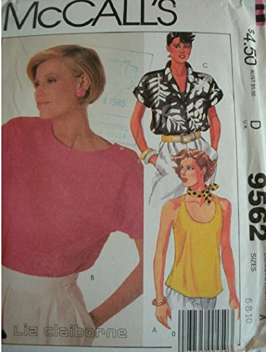 Misses Tops Size 6-8-10 Vintage McCalls Liz Claiborne Pattern 9562 Dated 1985