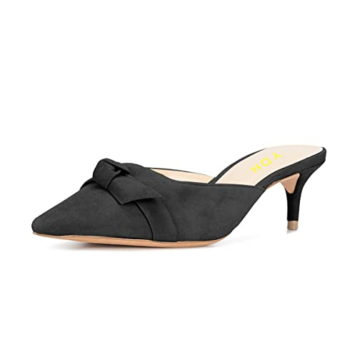 dc2b113626c YDN Womens Low Heels Slide Sandals Pointed Toe Kitten Mules Slip on Pumps  with Chic Bow