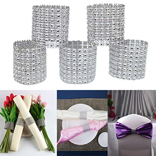 50Pcs Rhinestone Napkin Rings, Napkin Holder Chairs Sash Bows for DIY Party Banquet Hotel Wedding Birthday Party Decor (Silver) ()