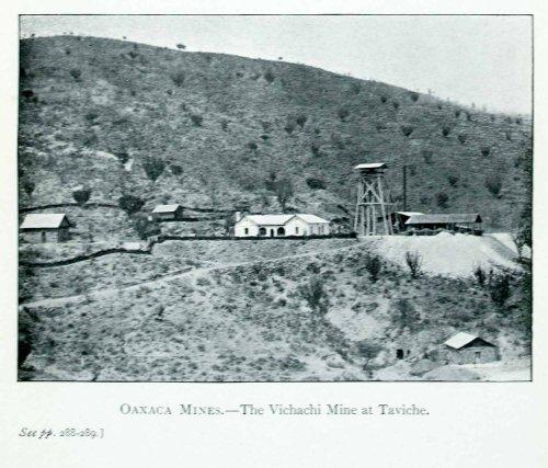 Hillside Village (1907 Print Oaxaca Mexico Vichachi Mine Taviche Landscape Hillside Town Village - Original Halftone Print)