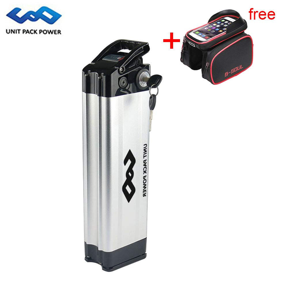 UnitPackPower 36V 10AH Lithium ion E-Bike Battery Silver Fish for 18650 Cells with Potable Handle, fits 36V 500W E-Bike Motor/Mountain Bike/Road Bike/Cyclocross Bike/Scooter (Sliver) by UnitPackPower
