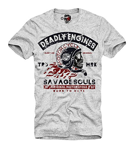 E1SYNDICATE T-SHIRT VINTAGE BIKE SCRAMBLER BRAT INDIAN TRIUMPH S-XL GREY (Vintage Motorcycle Shirts)