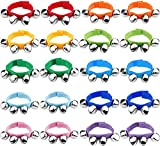20 Pcs Wrist Band Jingle Bells Musical Rhythm Toys,10 Colors,Musical Instruments for School