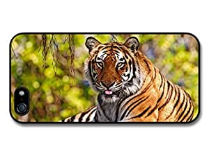 AMAF ? Accessories Cute Tiger Resting On The Grass case for iPhone 5 5S