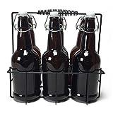 Circleware 67018 IBrew jarra de vidrio para botella de cerveza con cierre hermético, tapa de alambre fácil y soporte de metal, juego de 7, 16.9 oz, 6 unidades, color café