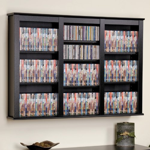 prepac triple wall mounted storage cabinet black - Bookshelves Wall Mounted