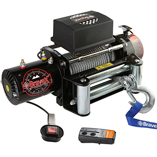 Bravex Electric Recovery Winch 9500 lb. Load Capacity 12V Heavy Duty with Both Wireless Handheld Remote and Corded Control – Truck SUV Durable Winch