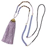 KELITCH Handmade Long Necklace with Tassel Pendant Bohemian Crystal Beaded Layered Necklace, Lilac
