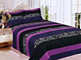 zebra bedspread full - Fancy Collection 3pc Full Size Quilted Bedspread Set Stripped Zebra Print Purple Black White New