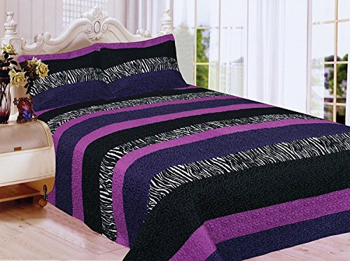 Fancy Collection 3pc Full Size Quilted Bedspread Set Stripped Zebra Print Purple Black White New (White Zebra Purple)