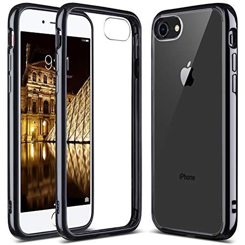 (ULAK iPhone 7 Case Clear with Black Bumper, iPhone 8 Clear Case, Slim Fit Premium Hybrid Shockproof & Scratch Resistant Clear Case Cover Hard Back Panel+TPU Bumper -)
