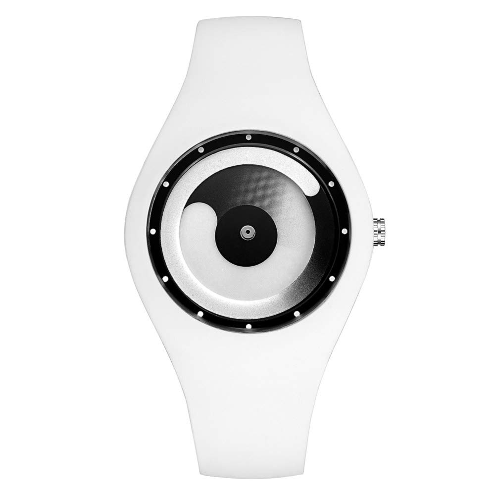 Tidoo Men's Women's Personalized Bracelet Watch Sport Style Wrist Waterproof Quartz Movement Watch with Rubber Band(White)