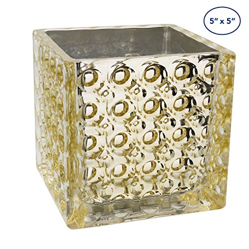Royal Imports Flower Glass Vase Decorative Centerpiece For Home or Wedding by Elegant Dimple Effect Cube, 5