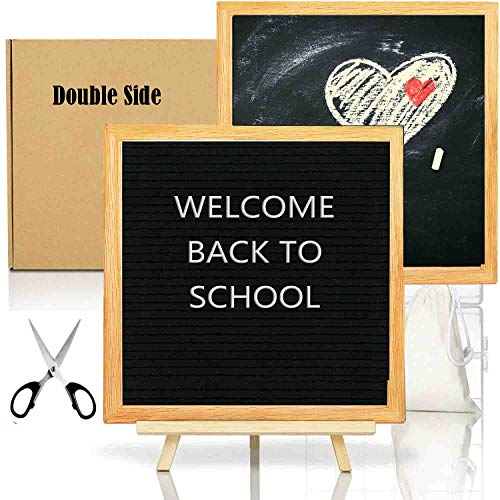 Double Sided Felt Letter Board with Chalkboard -10x10 Black Changeable Message Sign with Oak Frame Stand, 378 Letter Number Emojis, Back to School Photo Prop Board Sign, Home Office Decoration