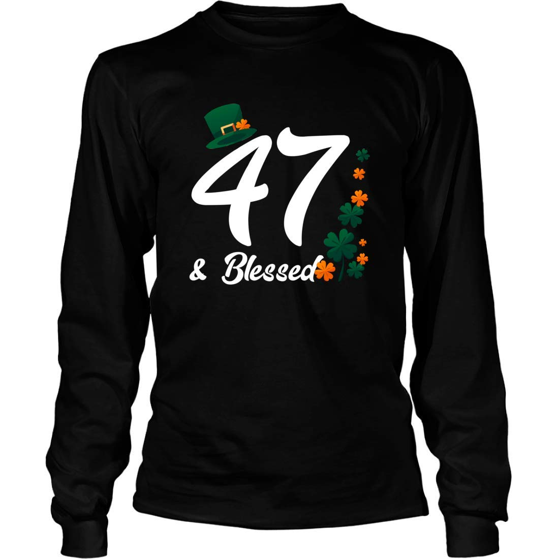 Mishozi 47th and Blessed Ireland Long Sleeve T-Shirt Unisex Shirts Gifts for 47th Birthday Irish