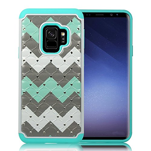 ZASE Case Compatible with Samsung Galaxy S9, Galaxy S9 Hybrid Dual Layer Protection [Jewel Rhinestone] Shockproof Slim Hard Shell Sparkly Crystal [Bling Diamond] Cover (Teal Mint Wave)