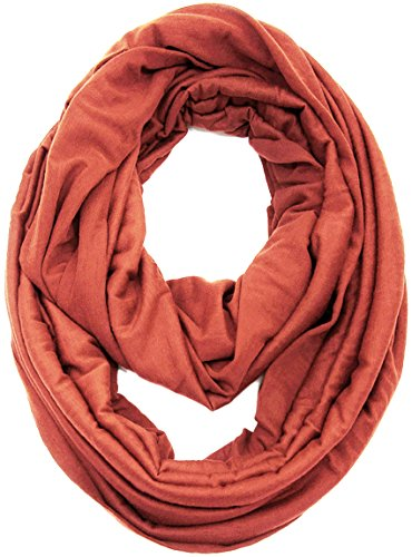 KMystic Large Solid Color Infinity Loop Jersey Scarf (Rust)