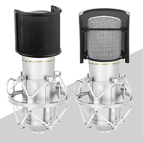 Sywon Metal Mesh and Foam Layer Mic Cover Handheld Microphone Pop Filter Windscreen Wind Screen Studio Shield Mount, Black - Image 5
