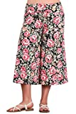 HEYHUN Plus Size Women's Print Wide Leg Flared Capri Boho Gaucho Pants - Black Pink - 3XL