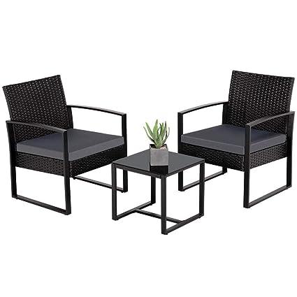 Amazon.com: Yaheetech - Juego de muebles de jardín de mimbre ...