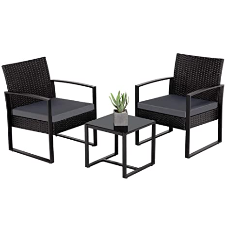 Tremendous Amazon Com Yaheetech 3 Pieces Patio Furniture Sets Indoor Home Interior And Landscaping Staixmapetitesourisinfo