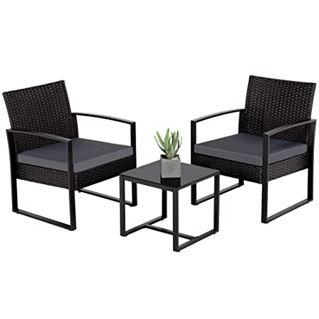 Yaheetech 3 Pieces Patio Furniture Sets Indoor Outdoor Wicker Modern Bistro Set Rattan Chair Conversation Sets Gray Cushion with Coffee Table