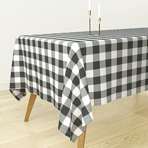 Large Plaid Wallpaper - Roostery Tablecloth - Buffalo Plaid Checks Black Country Traditional by Domesticate - Cotton Sateen Tablecloth 90 x 90