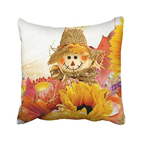 Tarolo Decorative Fall Basics Sunflowers straw hats maple leaves scarecrow Throw Pillow Cover Case Size 16x16 inches(40x40cm) One - Soul Wild Sunglasses