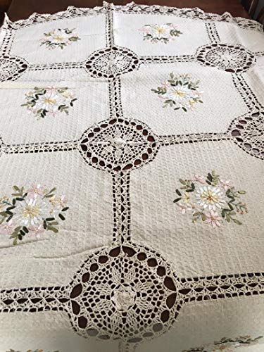 spring Home Handmade Tablecloth Silk Ribbon Embroidery Exquisite Crochet Panels Cotton Fabric Linens Vintage Wedding Tablecloths (72 Inch Round Color Beige) ()