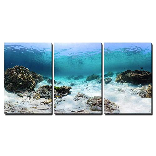(wall26 - 3 Piece Canvas Wall Art - Panorama of a Tropical Reef with Rocks on a Sandy Bottom. Racha Yai Island, Thailand - Modern Home Decor Stretched and Framed Ready to Hang - 24