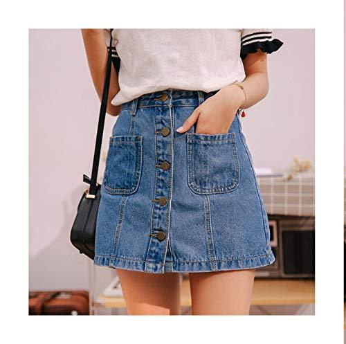 - Jade clear Denim Skirt High Waist A-line Mini Skirts Women 2018 Summer Single Button Pockets Blue Jean Skirt Style Saia Jeans,Sky Blue,S