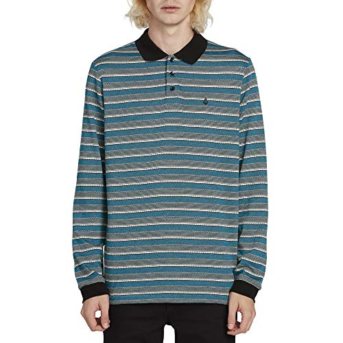 Volcom Men's Meadowz Striped Long Sleeve Polo Shirt, Chlorine Extra Large