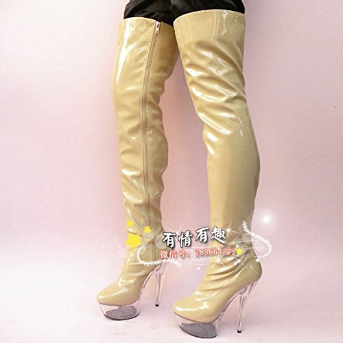 cm high 15 Boots heels Knee catwalk stage boots fashion crystal q55Awd