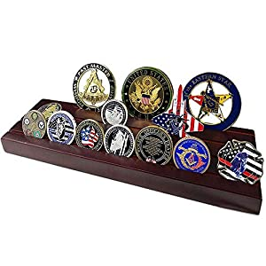 Indeep Military Challenge Coins Display Holder 4 Rows Wooden Coin Display Stand Rack for Collectibles by Indeep