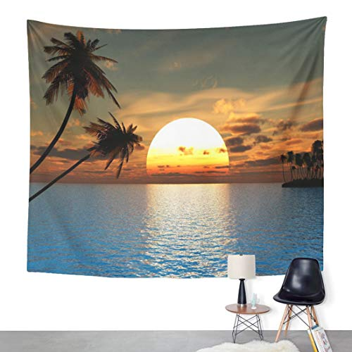 ArtSocket Tapestry South Sunset Coconut Palm Trees on Ocean Beach 3D Home Decor Wall Art Hanging for Living Room Bedroom Dorm 60 x 80 Inches Tapestry