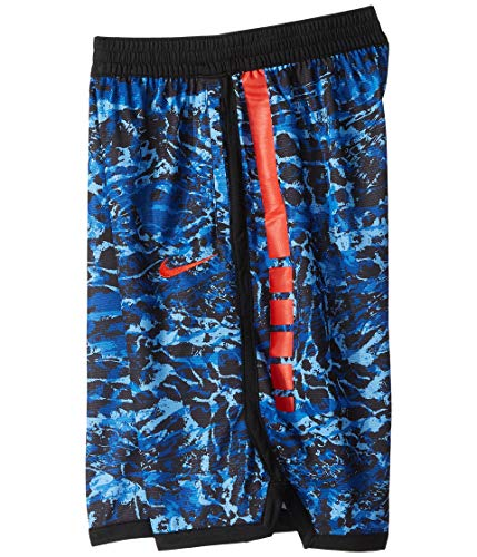 Nike Boy's Dri-FIT Elite Printed Basketball Shorts (Game Royal/Black, X-Large) (Elite Clothes Nike Youth)