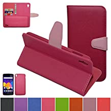 Alcatel One Touch Idol 3 (5.5 inch) Case,Mama Mouth [DETACHABLE Feature] Folio Flip Hard Case [Stand View] Premium PU Leather [Wallet Case] With Built-in Media Stand ID Credit Card / Cash Slots and Inner Pocket Cover For Alcatel One Touch Idol 3 (5.5 inch), Rose Red