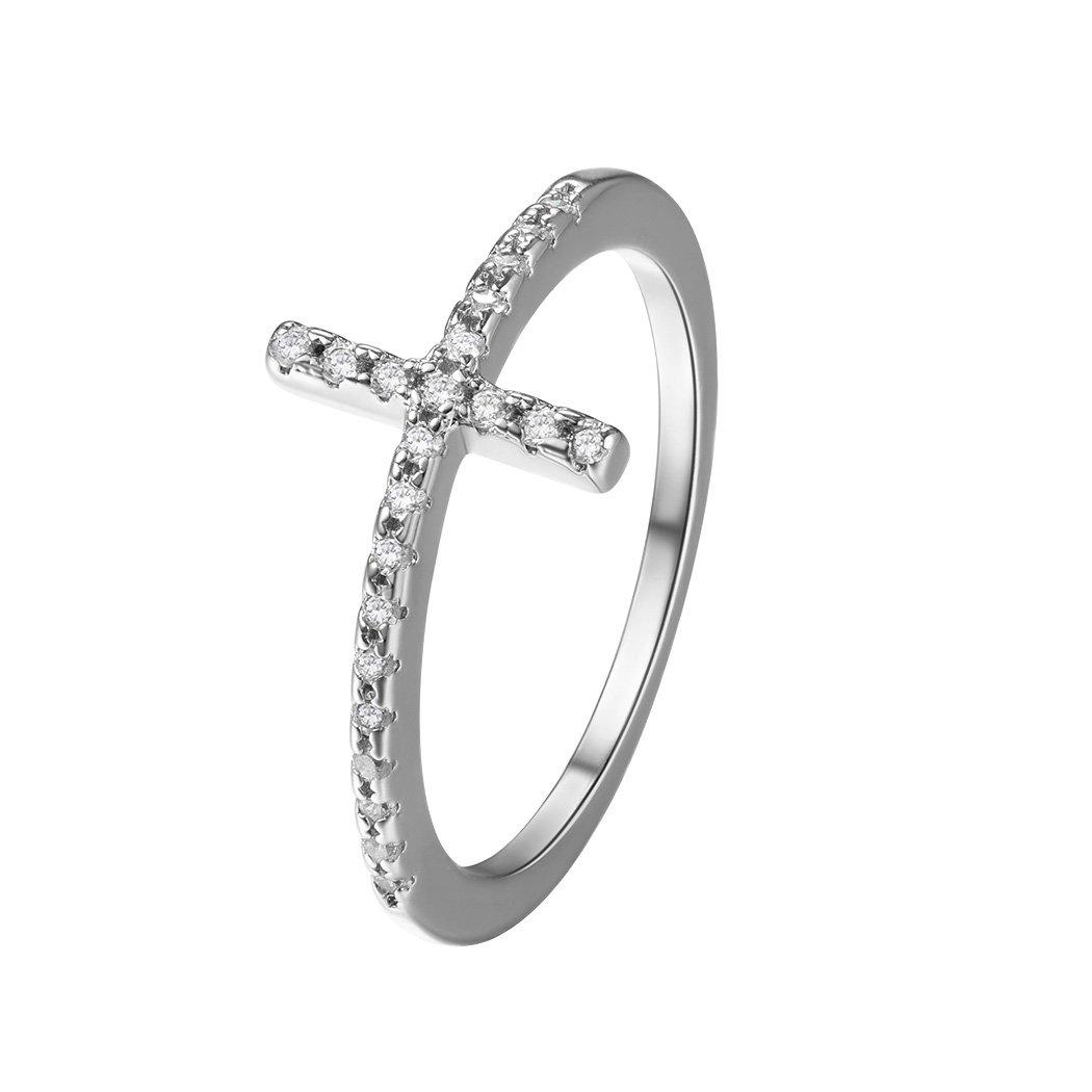 White Gold Sideways Cross Ring For Women/Girls Cubic Zirconia Wedding/Band Cross Ring Size 8